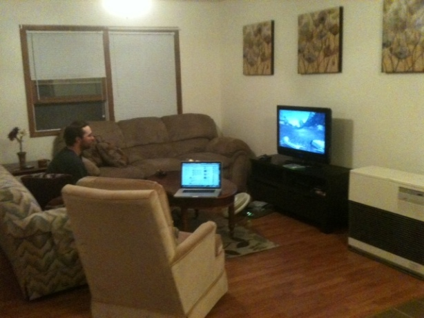 Our living room. Hubs is play Xbox.